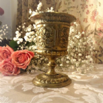 Beautiful French Highly Embossed Brass Goblet
